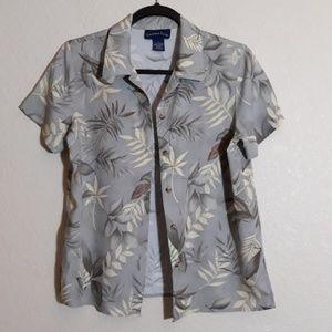 Ladies Charter Club Island Boho Hawaiin Shirt S